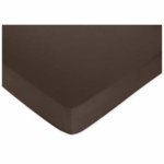 Sweet JoJo Designs Hotel Pink & Brown Crib Sheet in Solid Brown