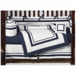 Sweet JoJo Designs Hotel White & Navy 9 Piece Crib Bedding Set