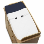 Sweet JoJo Designs Hotel White & Navy Changing Pad Cover