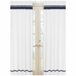 Sweet JoJo Designs Hotel White & Navy Window Panels