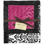 Sweet JoJo Designs Isabella Hot Pink, Black & White Minky & Satin Damask Blanket