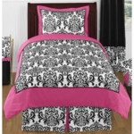 Sweet JoJo Designs Isabella Hot Pink, Black & White Twin Bedding Set