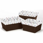 Sweet JoJo Designs Nautical Nights Basket Liners in Nautical Print - Set of 3