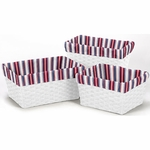 Sweet JoJo Designs Nautical Nights Basket Liners in Stripe Print - Set of 3