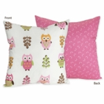 Sweet JoJo Designs Owl Pink Decorative Throw Pillow