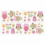Sweet JoJo Designs Owl Pink Wall Decals