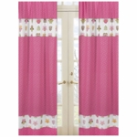 Sweet JoJo Designs Owl Pink Window Panels