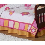 Sweet JoJo Designs Pink & Orange Butterfly Toddler Bed Skirt