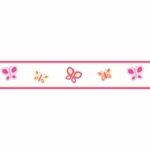Sweet JoJo Designs Pink & Orange Butterfly Wall Border