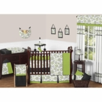 Sweet JoJo Designs Spirodot Lime & Black 9 Piece Crib Bedding Set