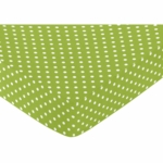 Sweet JoJo Designs Spirodot Lime & Black Crib Sheet - Polka Dot