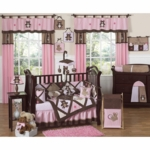 Sweet JoJo Designs Teddy Bear Pink 9 Piece Crib Bedding Set