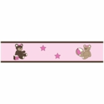 Sweet JoJo Designs Teddy Bear Pink Wallpaper Border