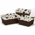 Sweet JoJo Designs Wild West Cowboy Basket Liners in Cow - Set of 3