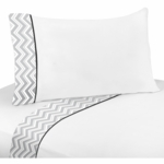 Sweet JoJo Designs Zig Zag Black & Grey Chevron Twin Sheet Set