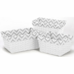 Sweet JoJo Designs Zig Zag Grey & White Chevron Basket Liners - Set of 3