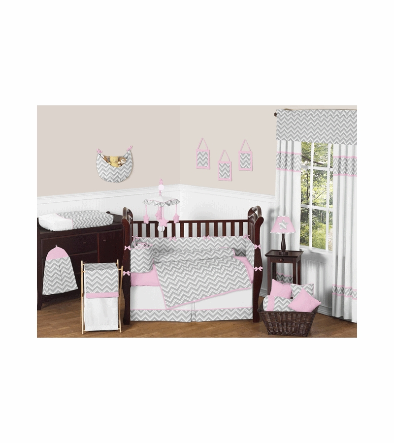 Sweet jojo designs zig zag pink grey chevron 9 piece for Zig zag bedroom ideas