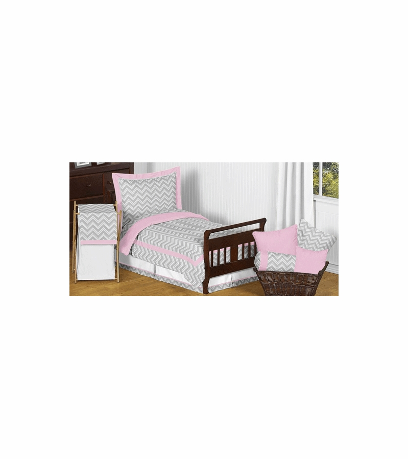 Sweet jojo designs zig zag pink grey chevron toddler for Zig zag bedroom ideas