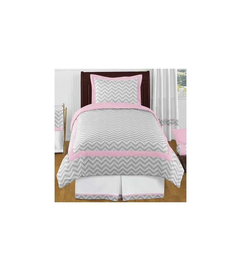 Sweet jojo designs zig zag pink grey chevron twin for Zig zag bedroom ideas