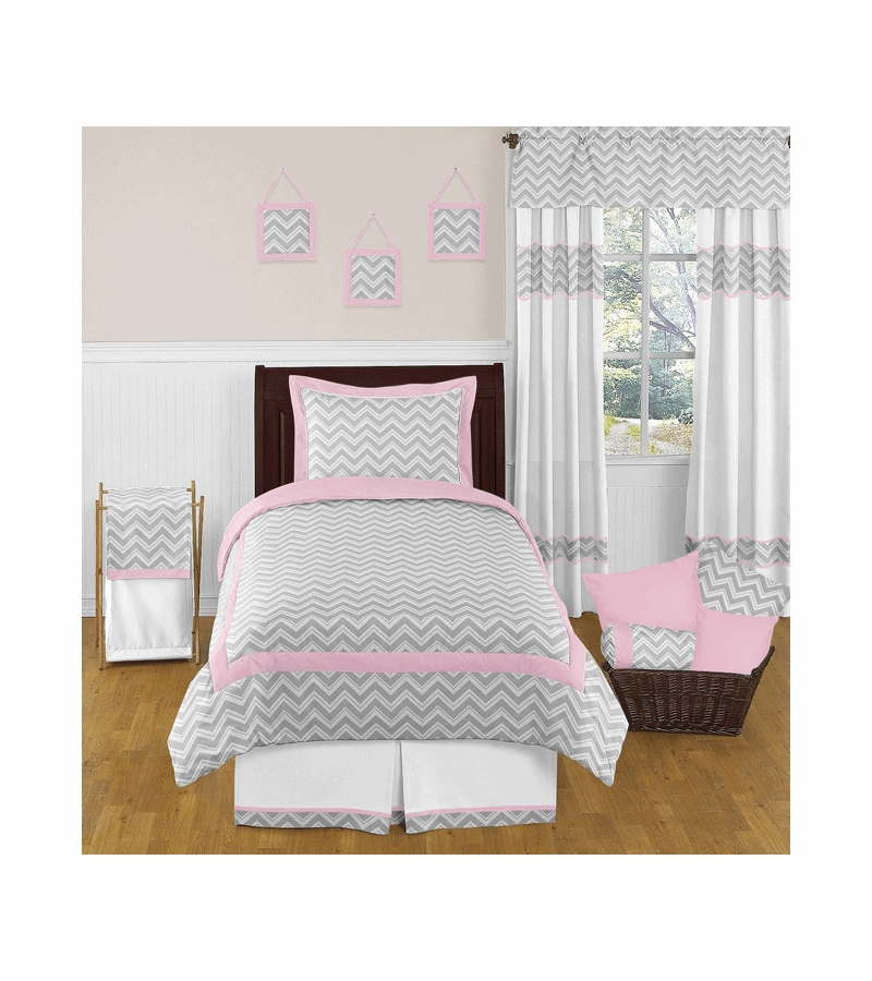 sweet jojo designs zig zag pink grey chevron twin bedding set. Black Bedroom Furniture Sets. Home Design Ideas