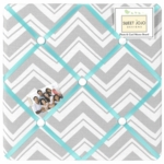 Sweet JoJo Designs Zig Zag Turquoise & Grey Chevron Fabric Memo Board