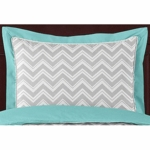 Sweet JoJo Designs Zig Zag Turquoise & Grey Chevron Pillow Sham
