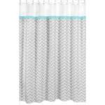 Sweet JoJo Designs Zig Zag Turquoise & Grey Chevron Shower Curtain