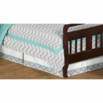 Sweet JoJo Designs Zig Zag Turquoise & Grey Chevron Toddler Bed Skirt