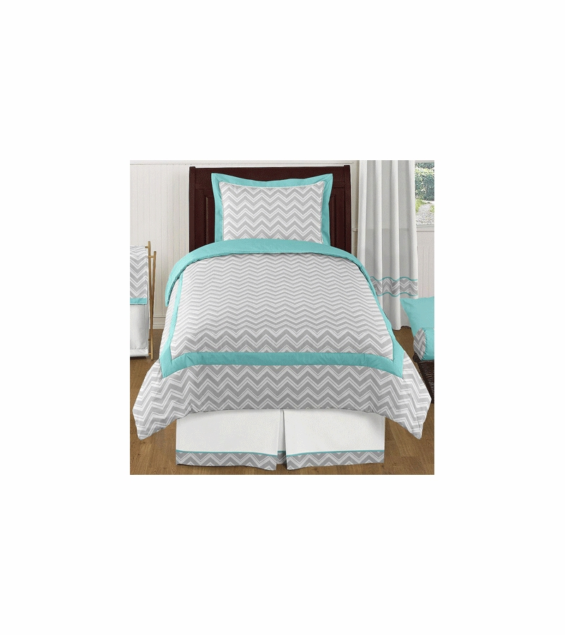 Sweet jojo designs zig zag turquoise grey chevron twin for Zig zag bedroom ideas