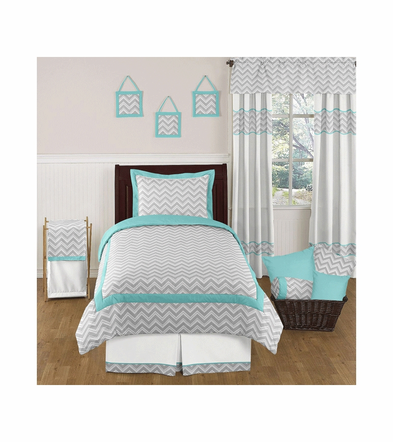 sweet jojo designs zig zag turquoise grey chevron twin bedding set. Black Bedroom Furniture Sets. Home Design Ideas