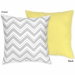 Sweet JoJo Designs Zig Zag Yellow & Grey Chevron Reversible Decorative Throw Pillow