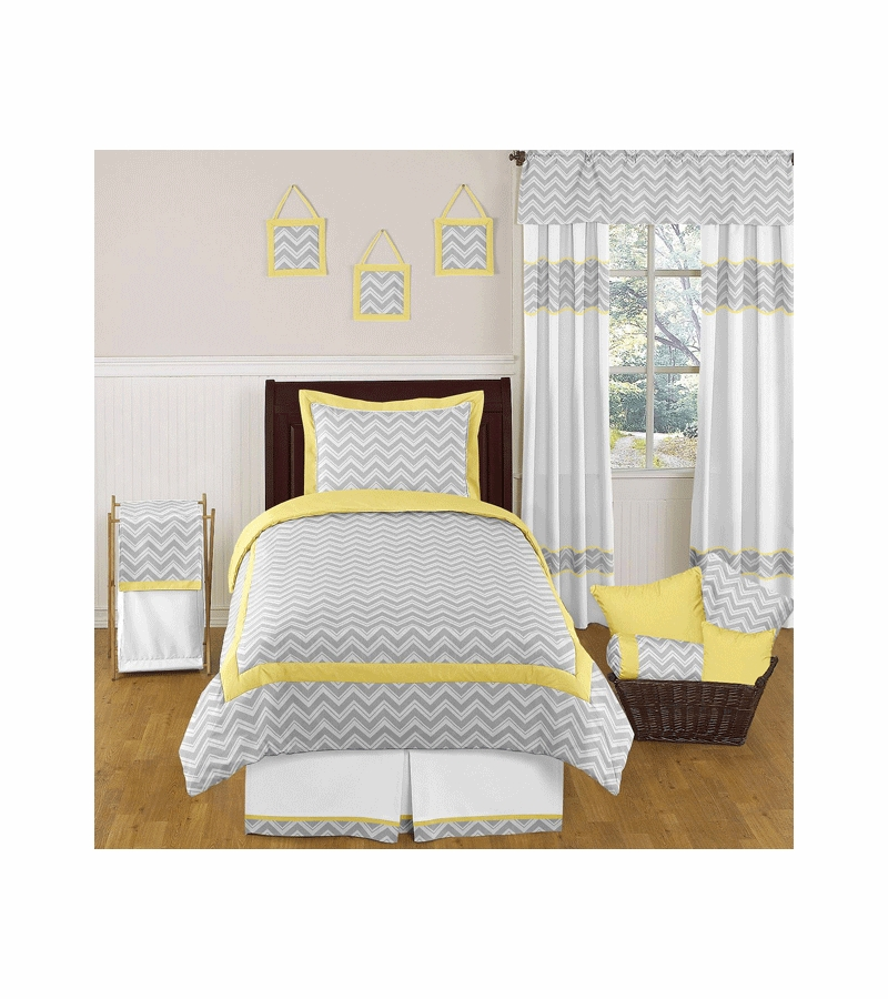 Sweet jojo designs zig zag yellow grey chevron twin for Zig zag bedroom ideas