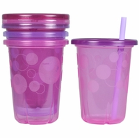 The First Years Take & Toss 10 oz. Spill-Proof Straw Cup (4ct) - Pink/Purple