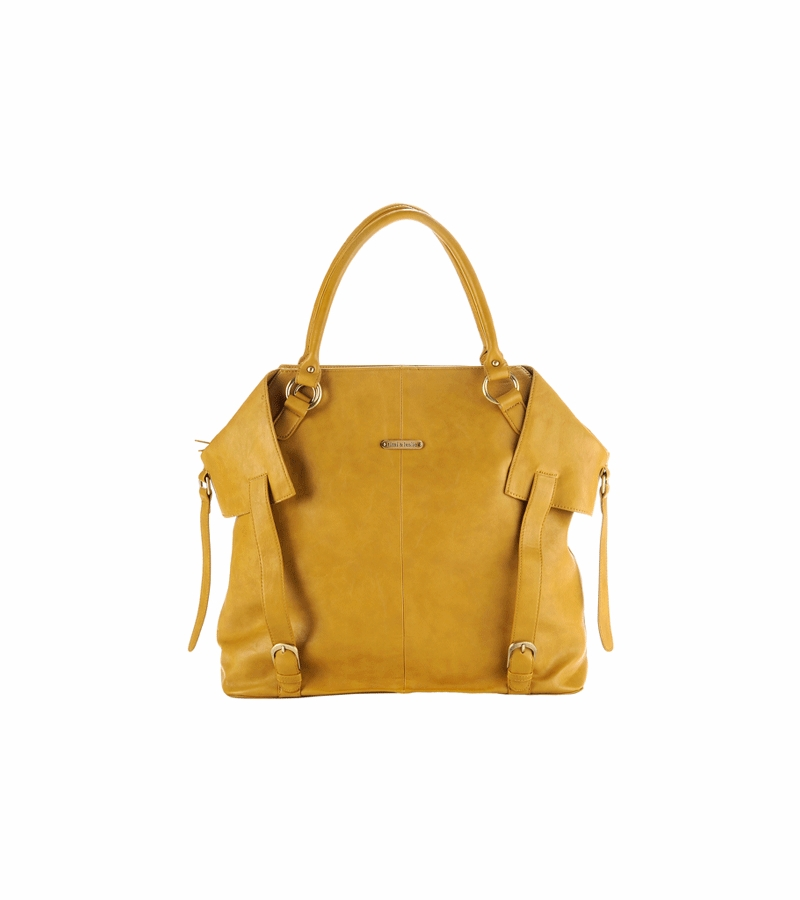 timi leslie charlie designer leather diaper bag in mustard. Black Bedroom Furniture Sets. Home Design Ideas