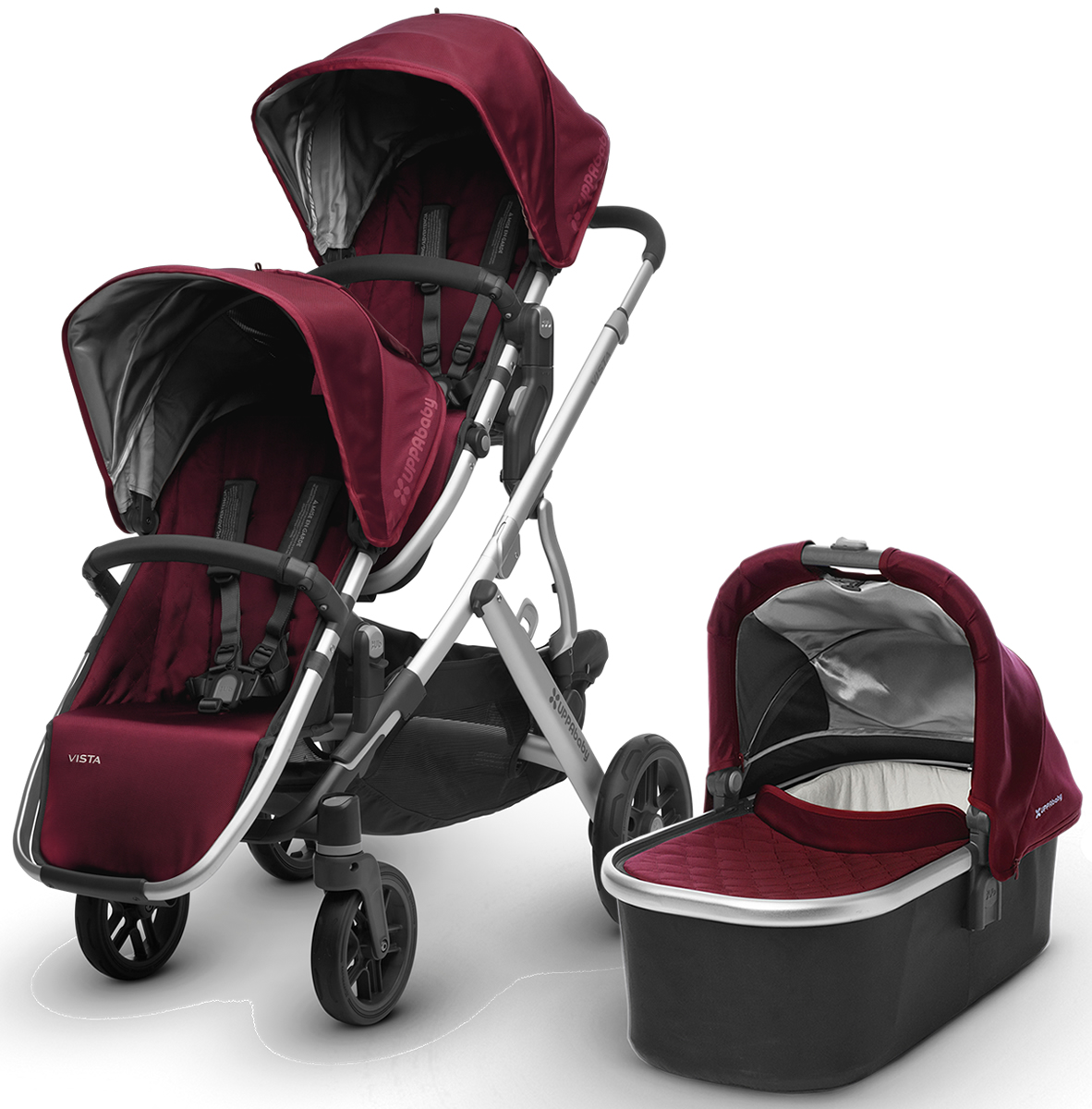 Uppababy 2017 Vista Double Stroller Dennison Bordeaux