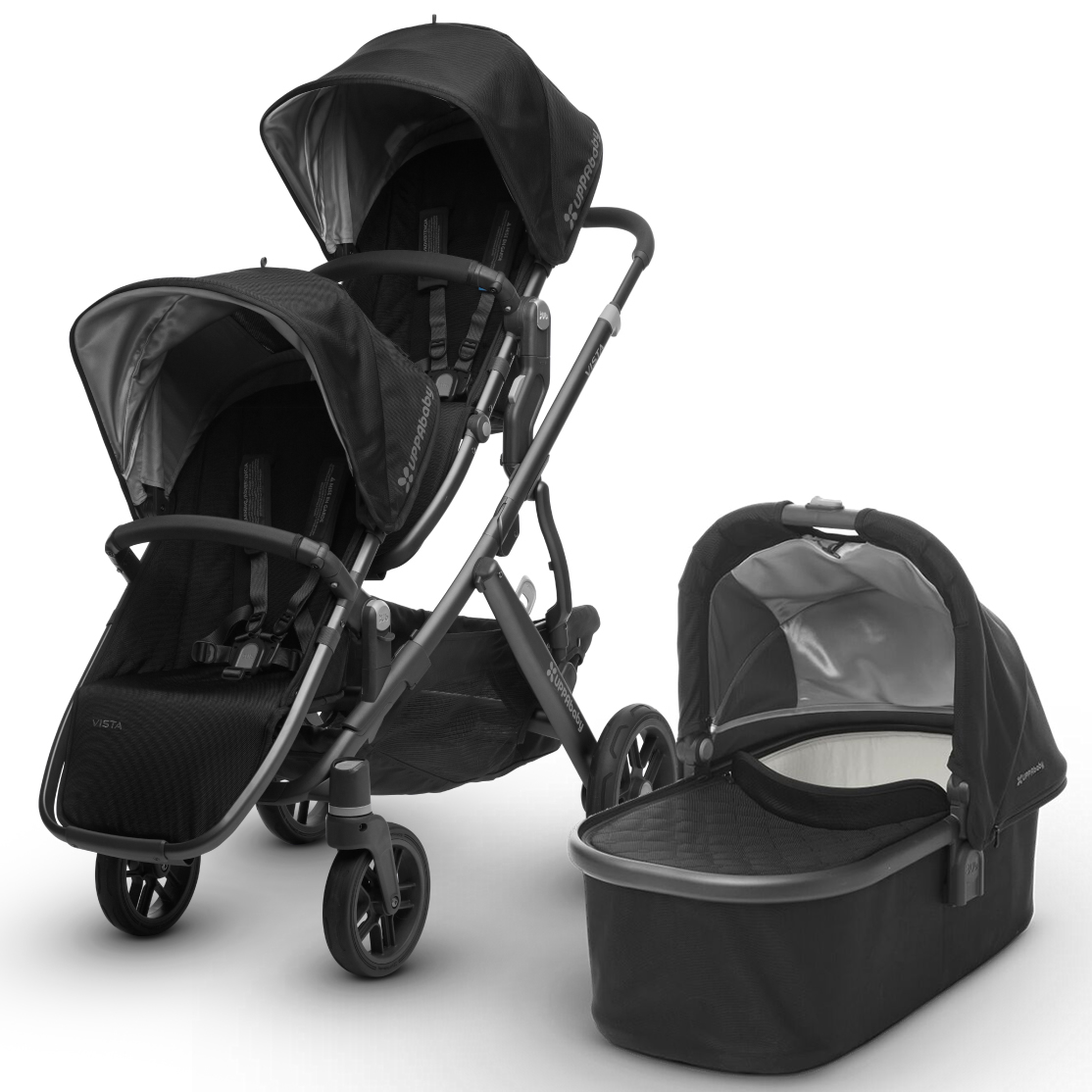 Uppa Baby 2017 Vista Double Stroller - Jake (Black/Carbon)