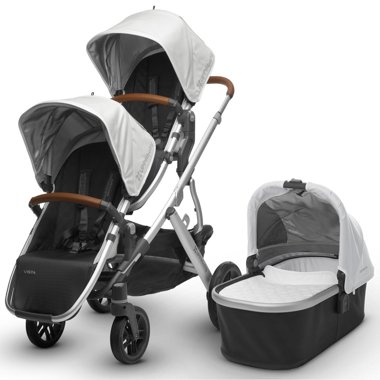 Uppa Baby 2018 Vista Double Stroller - Loic (White/Silver/Saddle Leather)