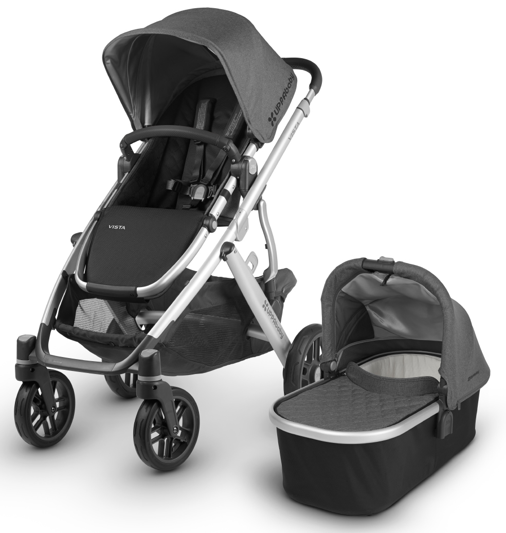 Uppa Baby 2018 Vista Stroller - Jordan (Charcoal Melange/Silver/Black Leather)