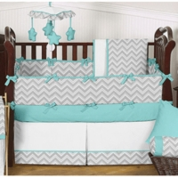 Zig Zag Turquoise & Grey Chevron Collection