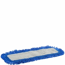 Impact LFFD18 Fringe Hook-and-Loop Dust Mop Microfiber Pad, Velcro Back, 18'' Length, Gray/Blue