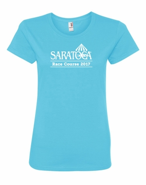 2017 Saratoga Ladies� Logo Tee, Pool Blue