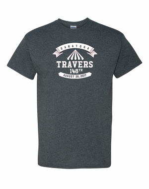 2017 Travers Stakes Logo Tee, Graphite Heather