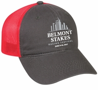 Belmont 149 Washed Cap, Twill/Mesh, Charcoal/Neon Red