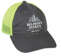 Belmont 149 Washed Cap, Twill/Mesh, Charcoal/Neon Yellow