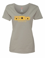 Ladies' Brush Stroke V-Neck T-Shirt Vintage Grey
