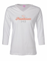 Ladies' Script V-Neck 3/4 Sleeve T-Shirt White
