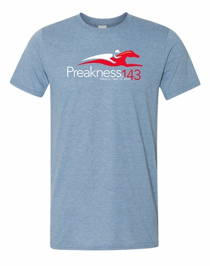 Preakness 143 Event Logo Adult Soft Style Tee, Heather Indigo