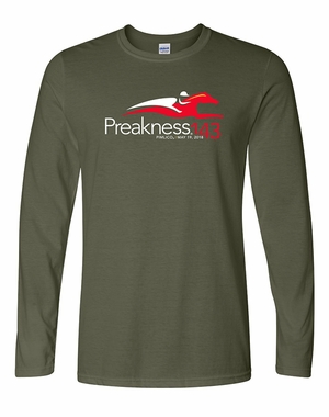Preakness 143 Event Logo Adult Long Sleeve Tee, Military Green