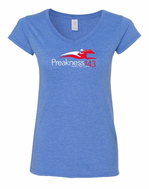 Preakness 143 Ladies' Soft Style V-Neck Tee, Heather Royal
