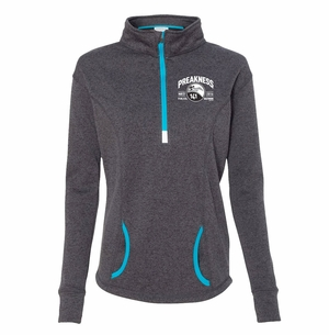 PRK 141 1/4 Zip Ladies Cosmic Fleece, Onyx Electric Blue